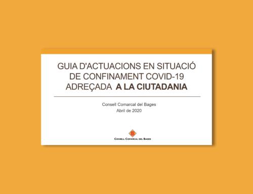 El Consell Comarcal del Bages edita una guia d'actuacions en situació de confinament